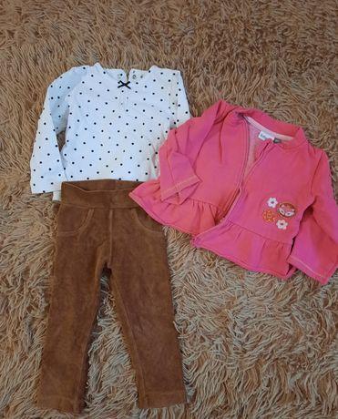 Вельветовые штаны, кофточка и кофта (одним лотом) на рост 74-80 см