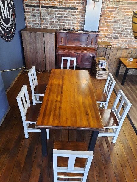 stół drewniany + 6 krzeseł drewnianych