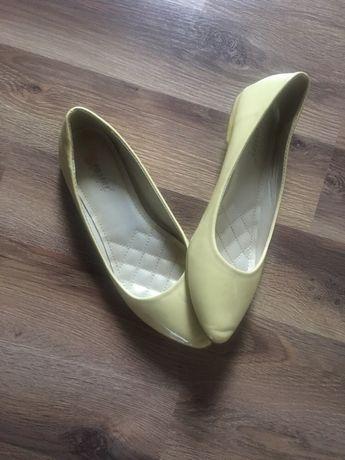 Balerinki baleriny buty damskie żółte pastelowe 38