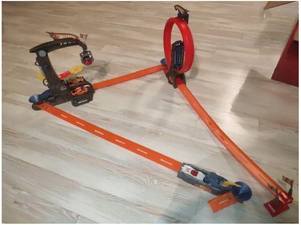 Hot Wheels Track Builder - wyrzutnia pętla dźwig + wyrzutnia !!
