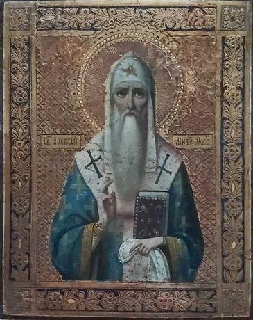Икона св. Алексий 19 век. Митрополит Киевский и Московский