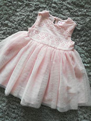 Sukienka różowa na roczek na święta chrzest 80 tiulowa