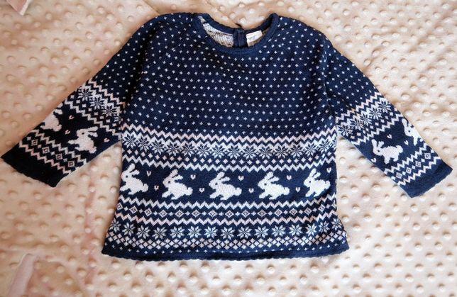 Sweterek sweter granatowy Króliczki H&M 86/92