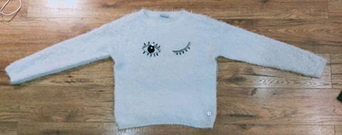OKAZJA sweter cieplutki milutki mis bialy z motywem oka