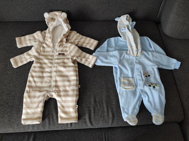 Kombinezony/Pajace ocieplane z polaru niemowlęce r. 56