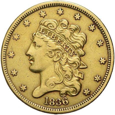 Złota moneta 5 Dolarów 1836 r. USA