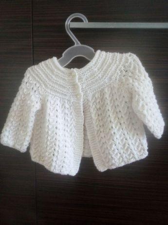 Sweter, sweterek, biały, wesele, urodziny, roczek, rozmiar 68 - 74