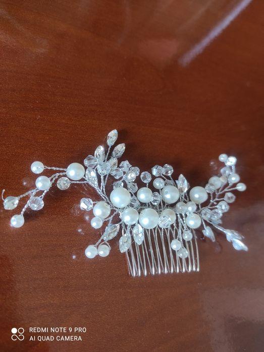Ozdoba do włosów srebrna grzebień ślub wesele perły Olsztyn - image 1
