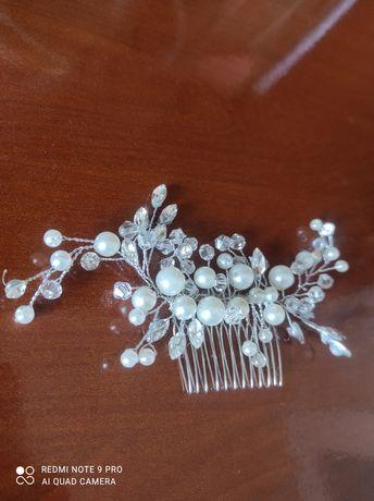 Ozdoba do włosów srebrna grzebień ślub wesele perły