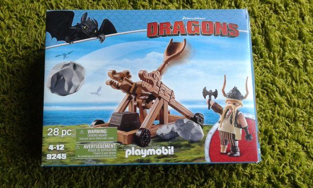 Playmobil 9245 JAK NOWE Dragons Pyskacz i Katapulta wyrzytnia klocki