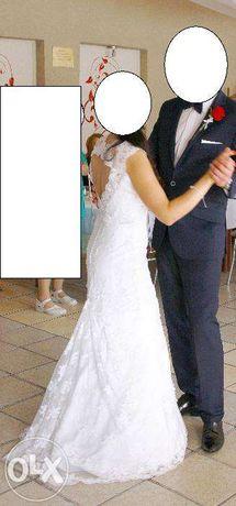 Sukienka ślubna rozm.36, koronka, odkryte plecy+ GRATIS
