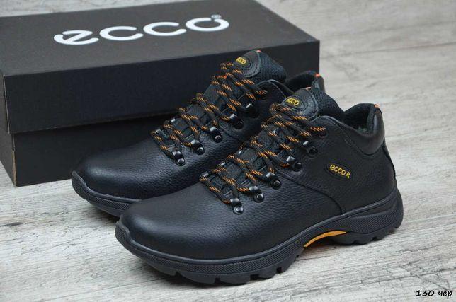 ECCO 130 мужские кожаные прошитые кроссовки на меху ботинки зимние