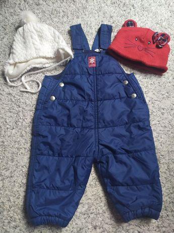 Spodnie ocieplane na zimę na szelkach GAP rozm. 74 czapki gratis
