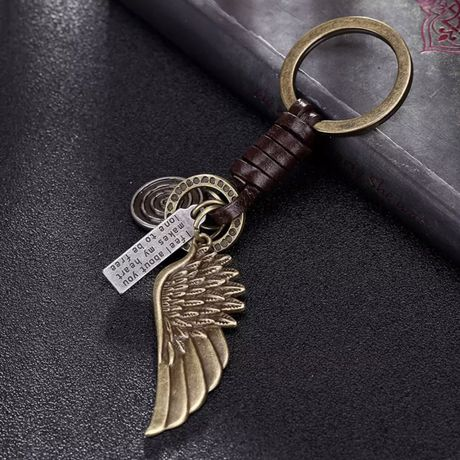 Винтажный брелок для ключей с крылом, новый