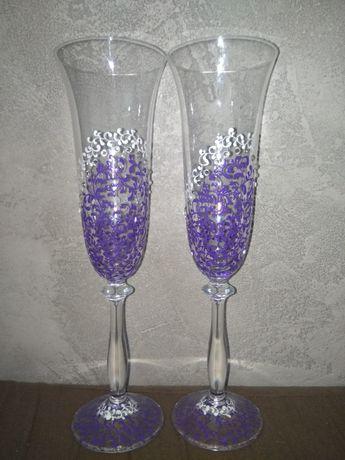 Новые свадебные бокалы, расписанные вручную