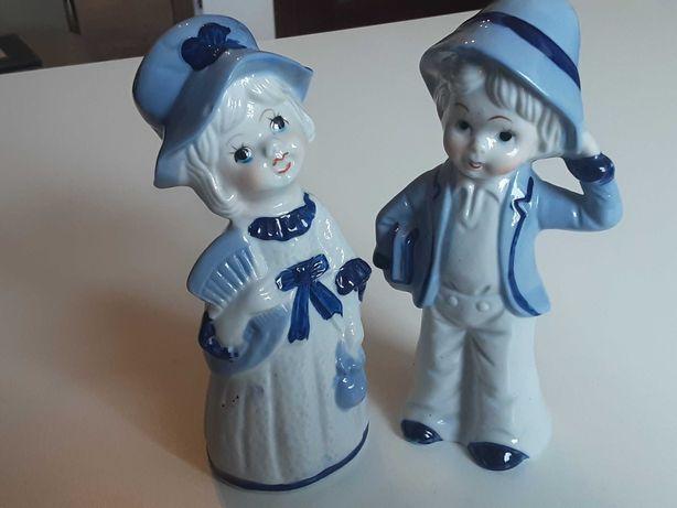 Dwie duże figurki porcelanowe szkliwione