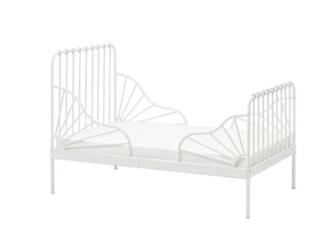Łóżko Minnen w kolorze białym+ materac ! rozsuwana rama