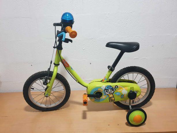 """Bicicleta de criança BTWiN 3-4, 5 anos. 14"""", com rodinhas"""