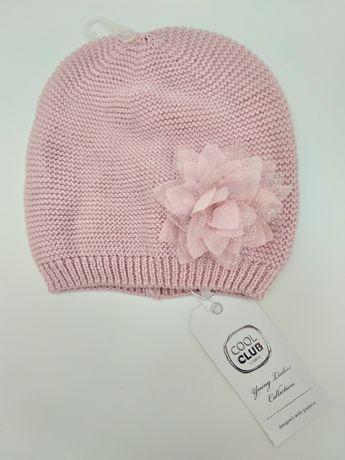 Smyk cool club czapka z kwiatkiem dla dziewczynki różowa 48/50 NOWA