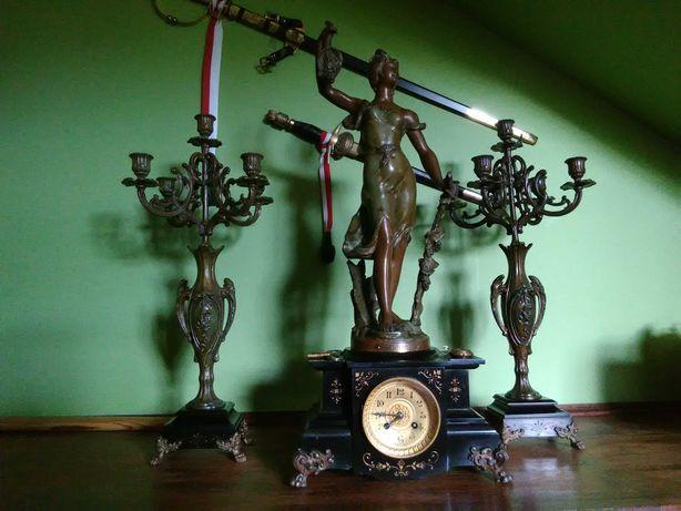 Zegar kominkowy Cynkal + Kandelabry 2 szt. Antyk