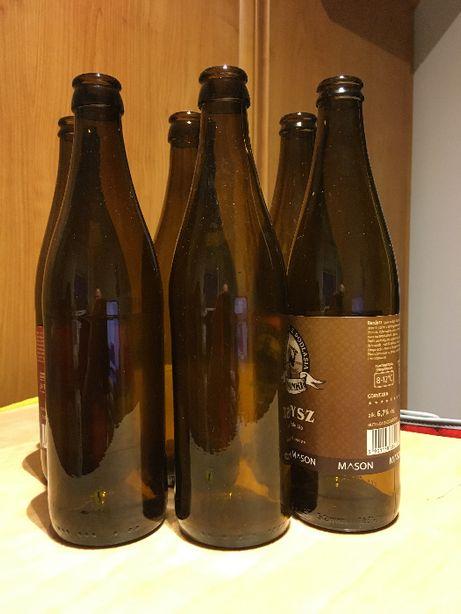 Puste butelki do piwa 0,5l gładkie brązowe opłukane