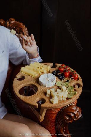 Деревянный винный столик. ДУБ.