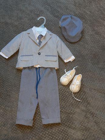 Ubranko do chrztu 62.Marynarka,spodnie,koszula,krawat,czapka,buty