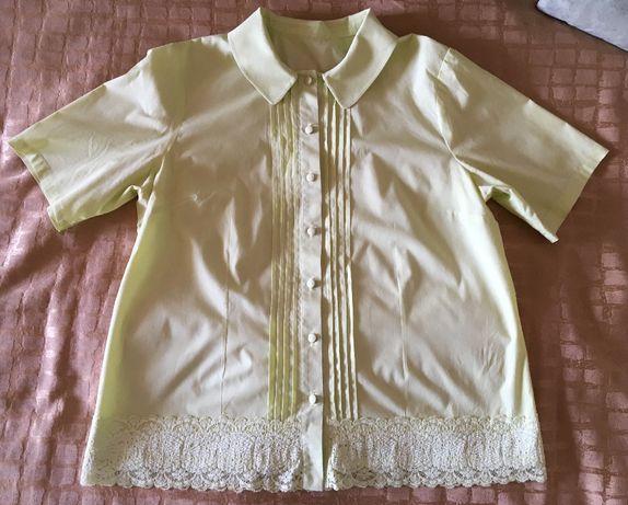 Салатовая женская блуза с Кружевом
