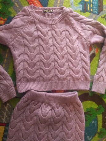 Костюм вязанный, тёплый, юбка, кофта (шерсть, цвет пудра), красивый S