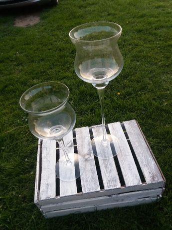 Wazon kielich szkło dekoracyjne stojaki metalowe