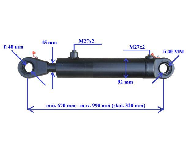 Siłownik hydrauliczny cylinder dwustronnego działania wysuw 320 mm