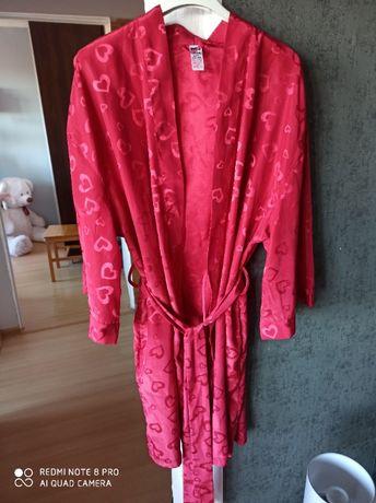Szlafrok satynowy, cienka podomka kolor różowy L/XL