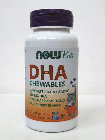 Рыбий жир омега-3 Now Foods DHA ДГК для детей, фруктовый вкус, 60 шт