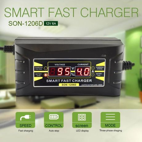 Зарядное устройство для авто мото аккумулятор 6А автоматическое Suoer