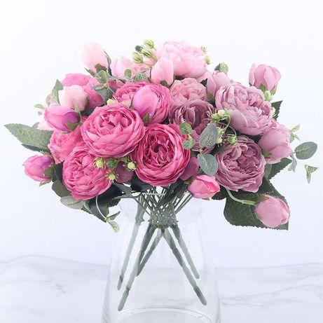 Róża Bukiet Sztucznych Kwiatów Róży Do Domu MEGA BUKIET !!!