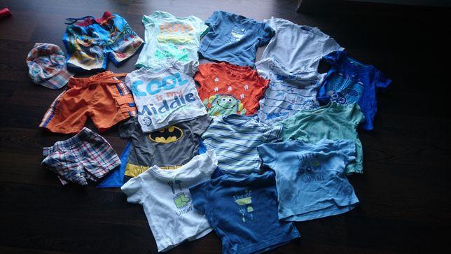 Koszulki spodenki chlopiec czapeczki 68-74 tanio zestaw paka