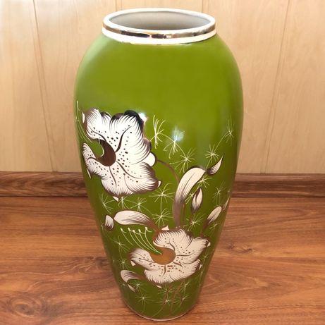 Olbrzymi wazon z fabryki porcelany w Chodzieży - zielony - 42 cm