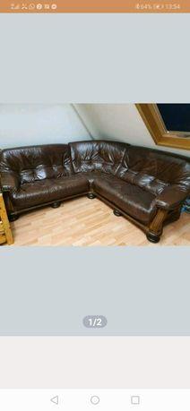 Kanapa skórzana rogowa +fotel