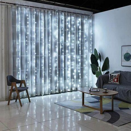 Новогодние гирлянды штора водопад светодиодная USB LED подсветка