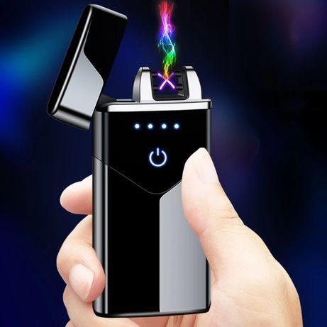 Zapalniczka plazmowa USB wskaźnik baterii czarna niebieska