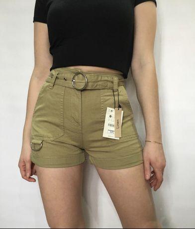 Короткие шорты в стиле карго на высокой посадке с ремешком и  кольцом