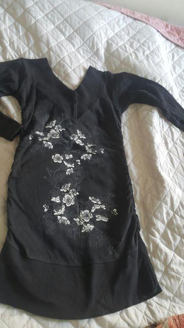 Bluzka tunika z dużym dekoltem xs bawełna długi rękaw