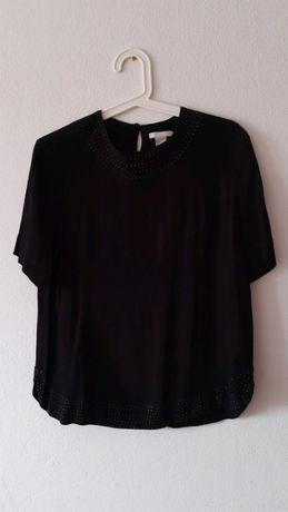 Czarna bluzka H&M r.M z dżetami elegancka