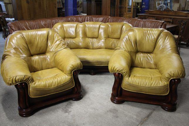 Skórzany Komplet Wypoczynkowy 3+1+1 / Skóra /Drewno/ Kanapa / Fotele /