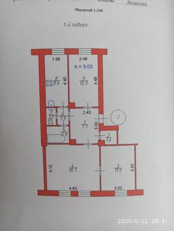 Продається трикімнатна квартира 64кв.м