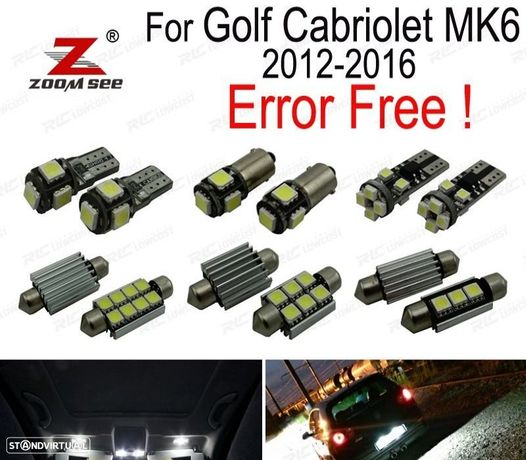 KIT COMPLETO DE 11 LÂMPADAS LED INTERIOR PARA VW GOLF CABRIO CABRIOLET MK6 (2012-2016)