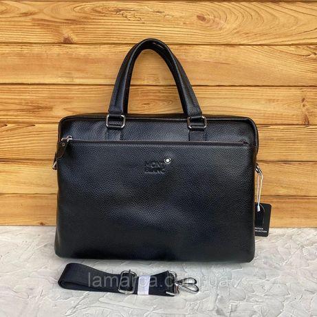 Мужской кожаный деловой портфель сумка для документов Mont Blanc