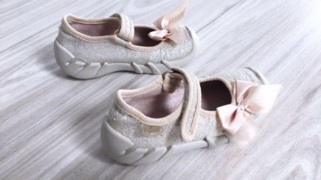 Befado balerinki 23 złote buciki kapcie na rzepy