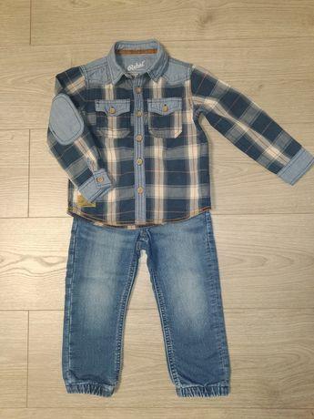 Набор, комплект джинсы и джинсовая рубашка для мальчика 2-3 года