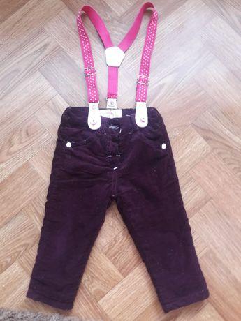 Теплі вельветові штани для дівчинки (68 см.)